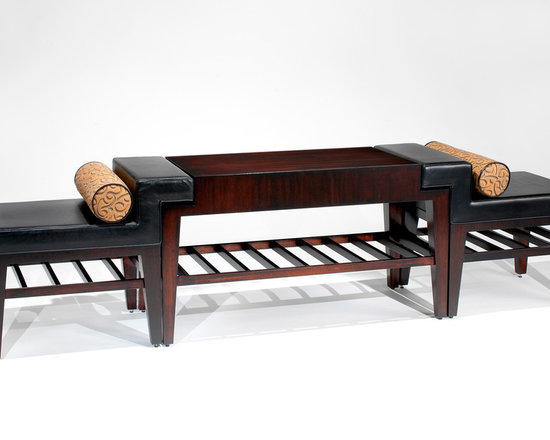 Danto Console with Slipper Chairs - Art | Harrison Collection - Mahogany finished console table with overlapping slipper chairs. Chairs upholstered in leather with fabric bolsters Console & chairs have slats connecting the stretcher bars.