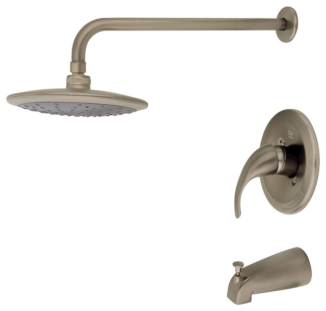 Brushed Nickel 3 Piece Rain Head Shower Set traditional-showerheads-and-body-sprays