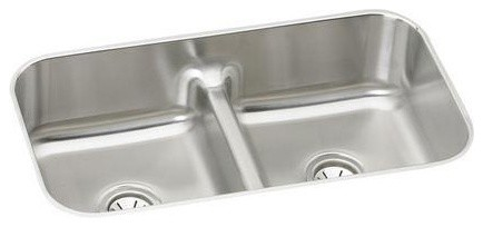 Elkay Gourmet Double Bowl Undermount Sink, Stainless Steel (EAQDUH3118) contemporary-kitchen-sinks