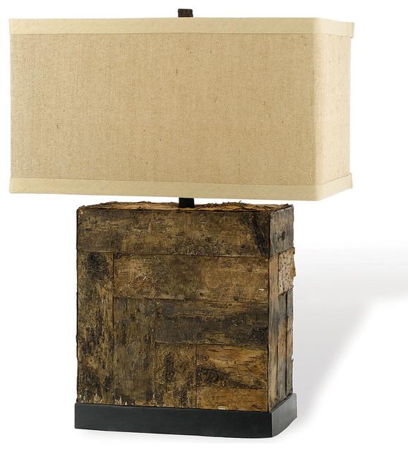 Bark Rustic Lodge Square Linen Table Lamp - Rustic - Table ...