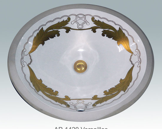"Hand Painted Undermounts by Atlantis Porcelain - ""VERSAILLES"" Shown on AP-1420 white Monaco Medium undermount 17-1/4""x14-1/4"".Available on burnished gold or platinum and bright gold or platinum on any of our sinks."