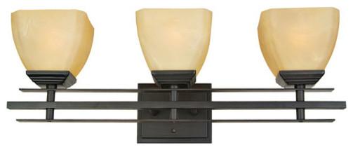 Half Dome Venetian Bronze Frame Three-Light Vanity Light contemporary-bathroom-lighting-and-vanity-lighting