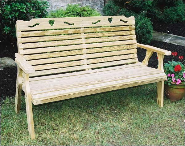Treated Pine Crossback w/ Heart Garden Bench contemporary-bedroom-benches