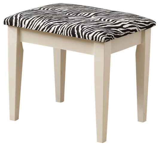Monarch Specialties 3390 2-Piece Vanity Set with Zebra Fabric Stool in White traditional-bedroom-products