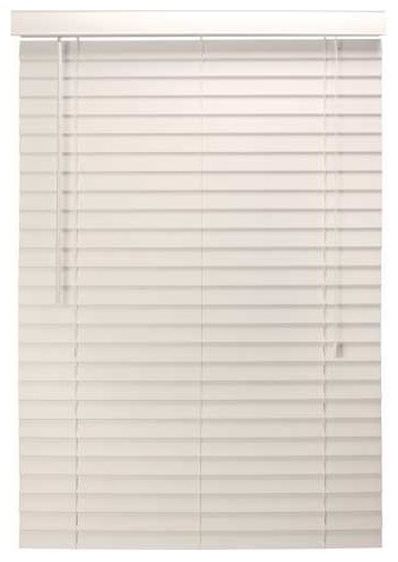 Mini Blind Faux Wood 35 In. x 48 In. x 2 In. With Valance White contemporary-window-treatments