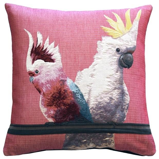 Pillow Decor - Cockatiel Birds Pink Tapestry Throw Pillow tropical-decorative-pillows