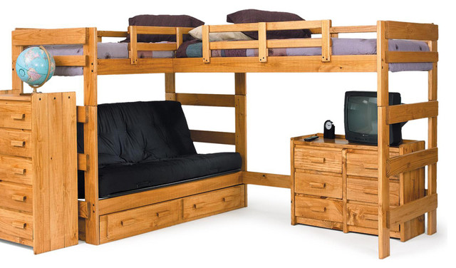 Chelsea Home L Shaped Futon Loft in Honey - With Storage - Traditional ...