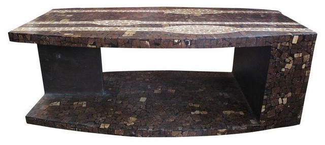 Custom Made Coconut Shell Coffee Table Tropical Coffee Tables By Chairish