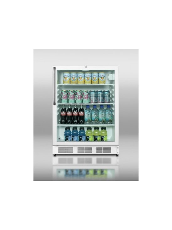 "Summit - Commercial Series SCR600L-CSS 24"" 5.5 cu.ft. Under-Counter Glass Door Refrigerat - With a slim width and full features SUMMIT39s popular SCR600L series of all-refrigerators offer reliable service in a wide range of commercially approved models with glass doors"