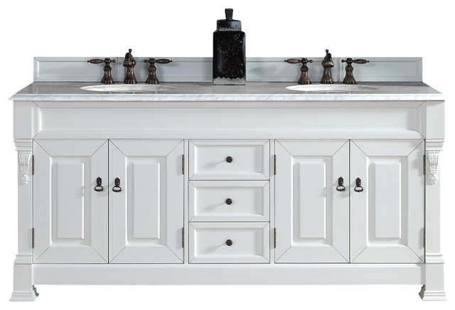 Vanity with carrera white stone top traditional bathroom vanities and