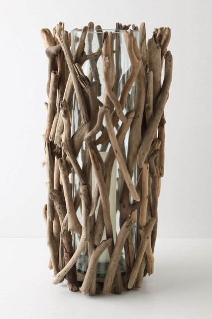 Driftwood Hurricane, Tall contemporary-candles-and-candle-holders