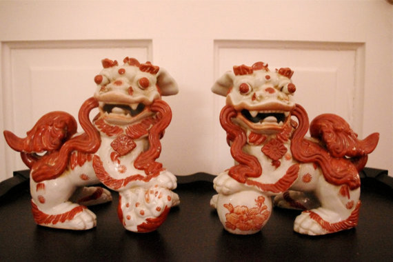 Vintage Foo Dogs Unique Hollywood Regency By Curate asian-home-decor