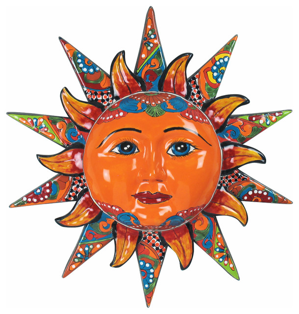 "20"" Talavera Sun Face Rustic Artwork phoenix by"