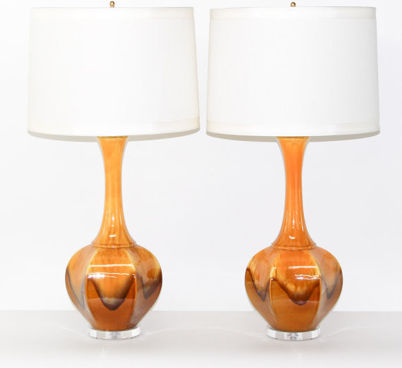 Pair Hollywood Regency Ceramic Lamps by Retro Symphony modern-table-lamps