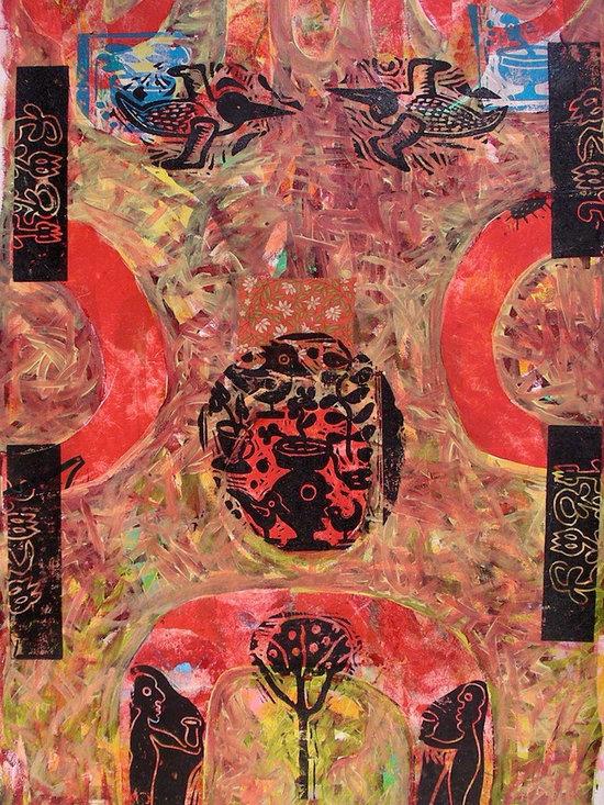 Art:: palette fuchsia, pink, burgundy -