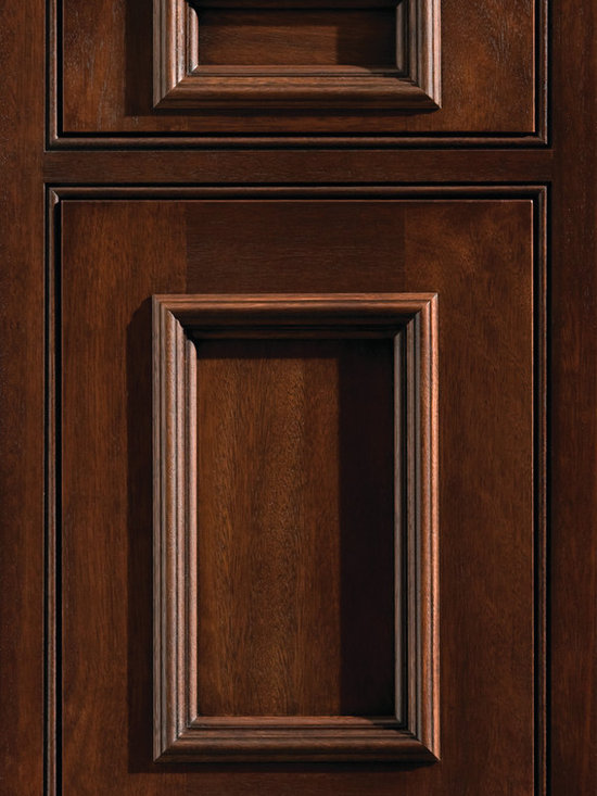 """Dura Supreme Cabinetry - Dura Supreme Cabinetry St. Augustine Inset Cabinet Door Style - Dura Supreme Cabinetry """"St. Augustine"""" inset cabinet door style in Lyptus shown with Dura Supreme's """"Chestnut"""" with """"Black Accent"""" finish."""