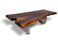 Walnut Coffee Table - Acrylic & Metal Base contemporary coffee tables