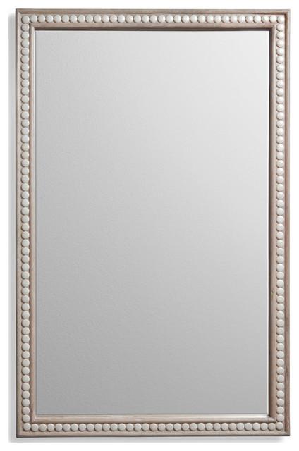 Coastal Beach Cream Cabochon Magnesite Gem Inlay Mirror transitional-mirrors