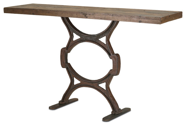 Industrial Chic Reclaimed Wood Factory Console Table transitional-console-tables