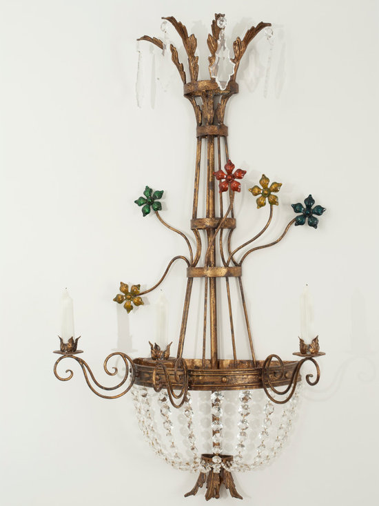 Miss Millie Sconce - Art | Harrison Collection - Shown in a distressed and gilded finish with Enamel Flowers and Crystal Accents.