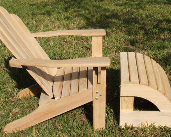 Cypress Adirondack chair and ottoman - What makes this chair different is that is is very comfortable . It has a contoured seat and a curved back, wide arms and set a perfect height for most people. The ottoman is a perfect addition to a perfect chair.