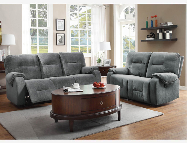 Dark Grey Reclining Couch Living Room