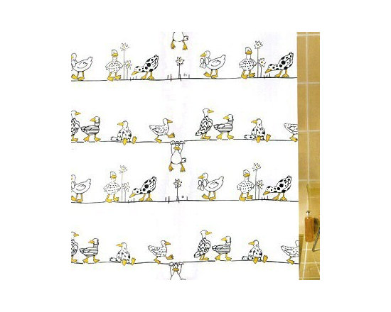 Duck Kid's Fabric Shower Curtain from Vita Futura - Our Duck shower curtain features a fun and playful scene of yellow and black ducks on a white background. All of the fabric shower curtains we offer feature heavy-duty plastic grommets / eyelets and have a weighted hem to assist in keeping the shower curtain in place while in use. Much like the shower curtains you find in many luxury hotels and spas, this shower curtain does not require the use of a shower curtain liner.  Made of quick-dry and easy-care  fabric.  As with all of our products, our Duck shower curtain is designed and produced in Germany.