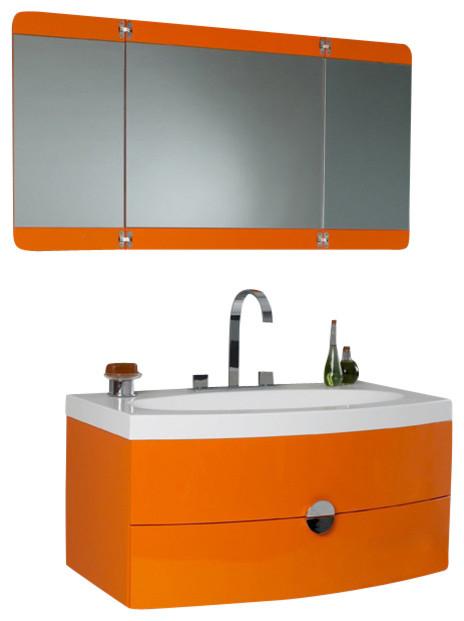 Fresca Energia Orange Modern Bathroom Vanity W Three Panel Folding Mirror M
