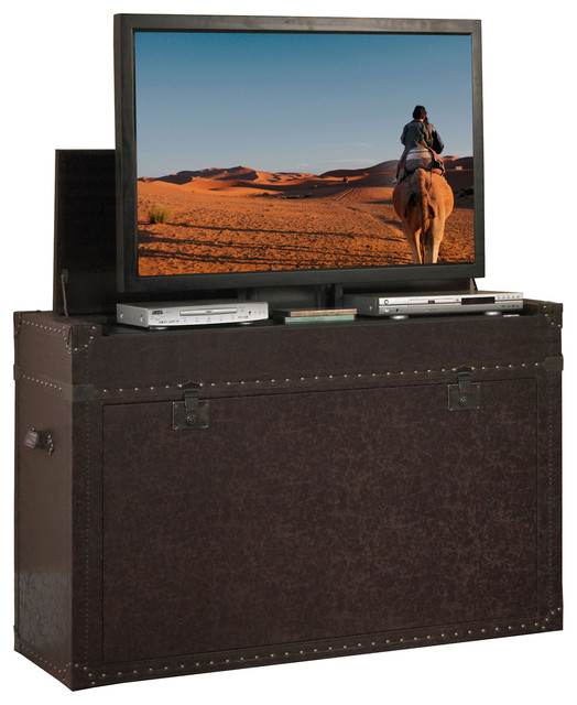 Ellis Aged Cigar Leather Truck Tv Lift Cabinet For Flat Screen Up To