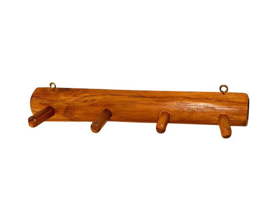 """Master Garden Products - Wall Mounted Teak Wood Cloth Hanger,  12""""L x 2""""H x 2""""W - Teak log hanger designed with 4 pieces 2"""" pegs for hanging clothing, towels, etc. Handcrafted with Indonesian plantation teak, they are sustainable and grown by small farmers who are making these handcrafted hangers to supplement and enrich their living standard."""