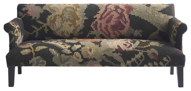 Large Floral Modern Rustic Kilim Dhurry Upholstered Sofa transitional-sofas