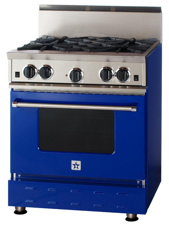 "30"" BlueStar RNB Range - Cobalt Blue (RAL 5013) 30"" RNB Gas Range that has 4 Top Burners"