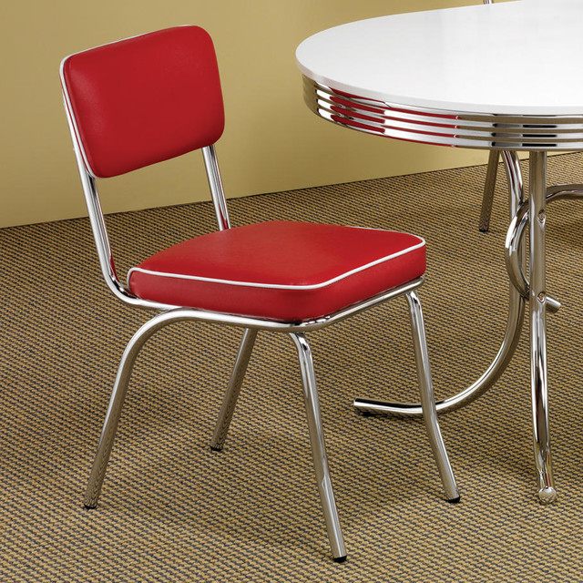Chrome Plated Retro Dining Chair In Red Set Of 2 Modern