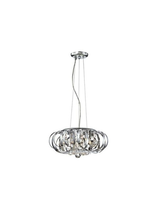 Possini Euro Design Steel Ribbons Crystal Pendant Chandelier -