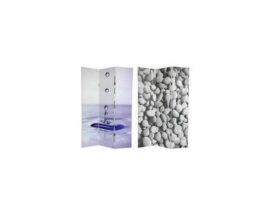 Functional Art/Photography Printed on a 6ft Folding Screen - 3 panel 6ft folding screen with a water drop and river rocks, great for salons, therapists offices to set a tranquil mood.