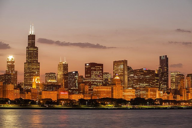 Glowing chicago skyline wallpaper wall mural self for Chicago skyline mural wallpaper