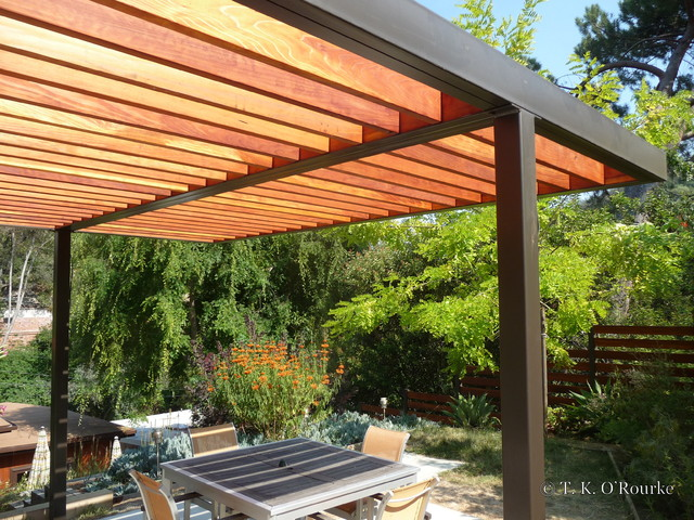 Modern Steel And Wood Pergola Contemporary Patio