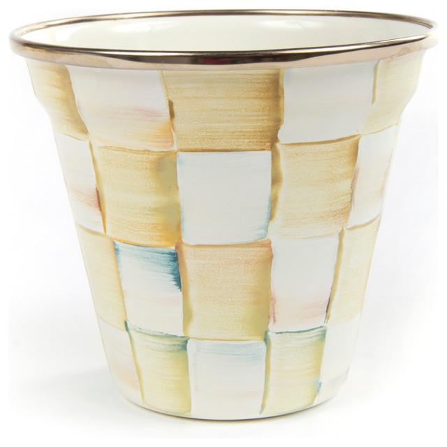 Parchment Check Enamel Pot | MacKenzie-Childs eclectic-indoor-pots-and-planters