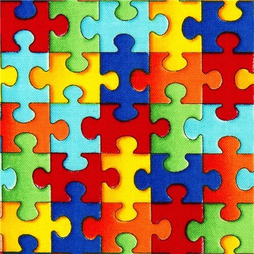 Designer Fabric With Colourful Jigsaw Puzzle Pieces Usa