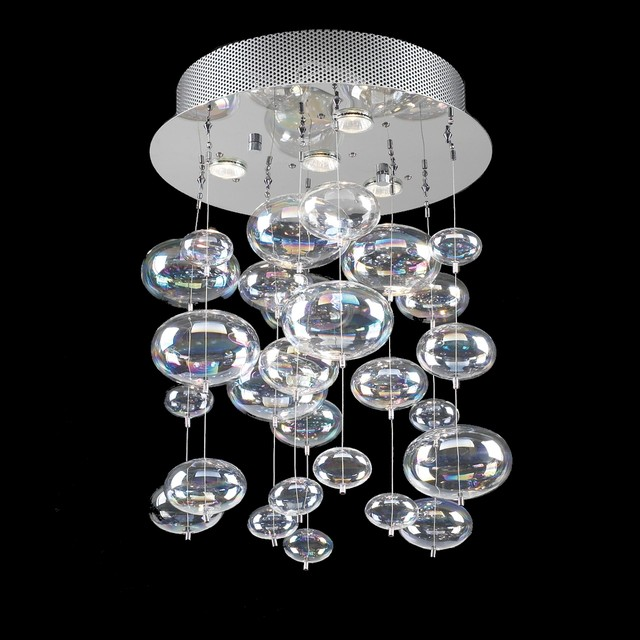 Bubble Glass Chandelier Pendant Ceiling Light With Rainbow