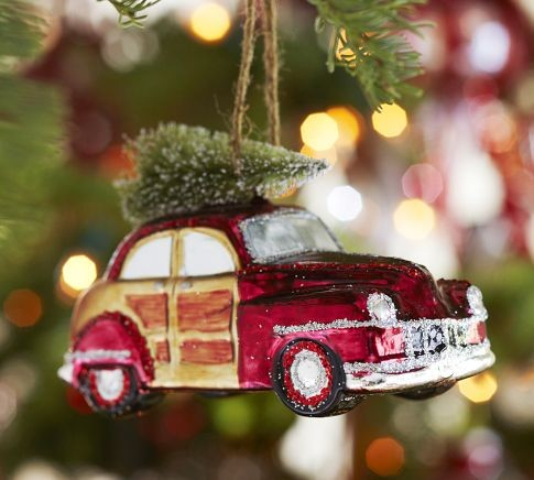 woody car glass ornament eclectic christmas ornaments by pottery barn. Black Bedroom Furniture Sets. Home Design Ideas