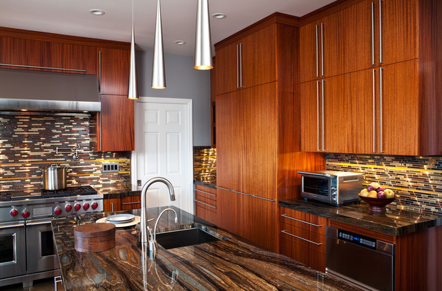 African Mahogany Kitchen Contemporary Kitchen