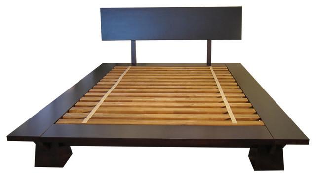 Takuma Platform Bed, Dark Walnut, Queen - Asian - Beds - by Haiku ...