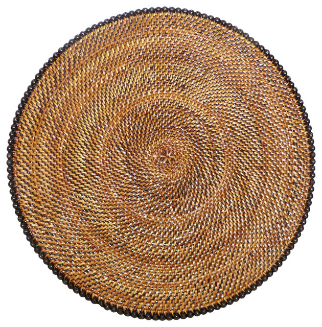 Round Rattan Placemat With Black Beads Tropical