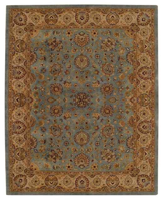 Traditional Forest Park-Medallions 2'x3' Rectangle Medium Blue-Gold Area Rug traditional-area-rugs