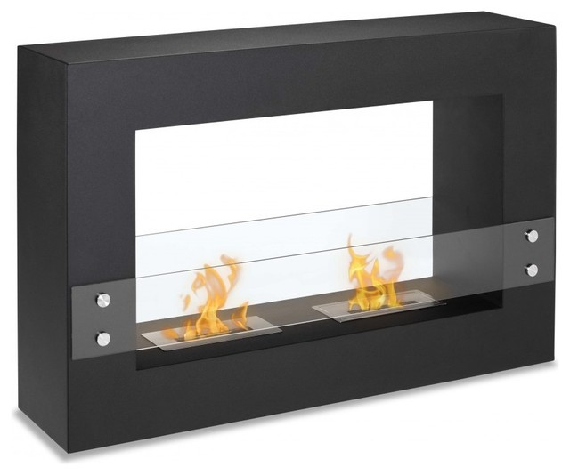 Freestanding ventless fireplace tectum contemporary for Ventless fireplace modern