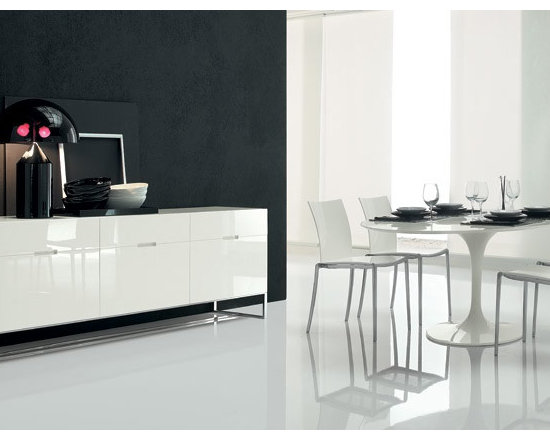 Our Designer Furniture - EDOMADIA - Sideboard in lacquered wood. Chrome-plated or painted steel base,  Made in Italy.