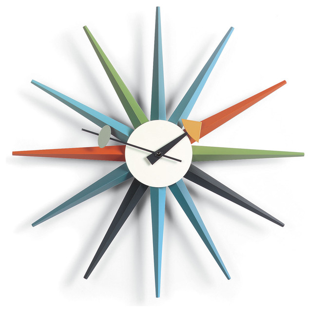 George Nelson: Sunburst Clock Multi Color by Vitra contemporary-clocks