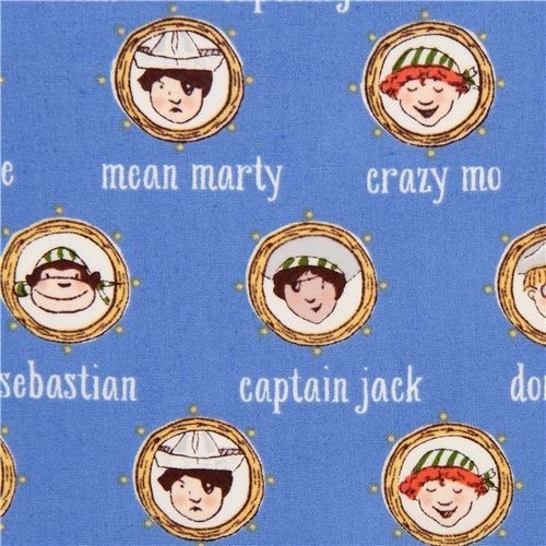 blue maritime pirate crew fabric by Michael Miller fabric