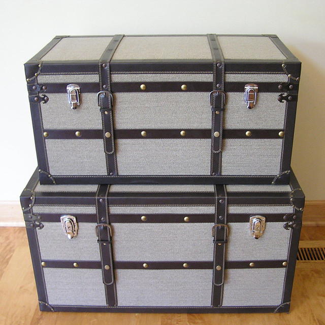 Decorative Vienna Wood Steamer Trunk Wooden Treasure Hope Chests (Set of 2) contemporary-baskets
